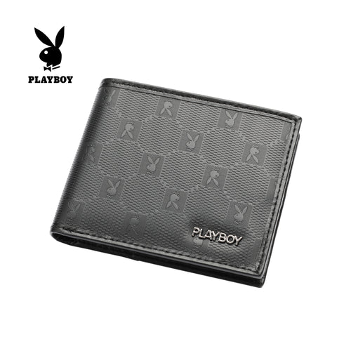 PLAYBOY MONOGRAM RFID BI-FOLD WALLET PW 234-4 BLACK
