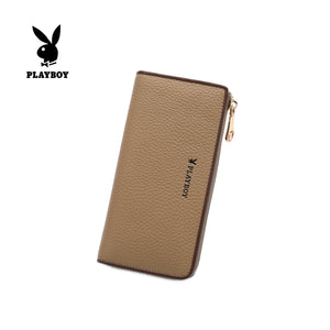 PLAYBOY GENUINE LEATHER RFID ZIPPER LONG WALLET PW 259-3 KHAKI