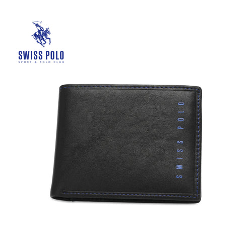 SWISS POLO GENUINE LEATHER RFID SHORT WALLET SW 134-3 BLACK