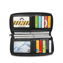 Load image into Gallery viewer, SWISS POLO GENUINE LEATHER RFID ZIPPER LONG WALLET SW 167-2 BLACK