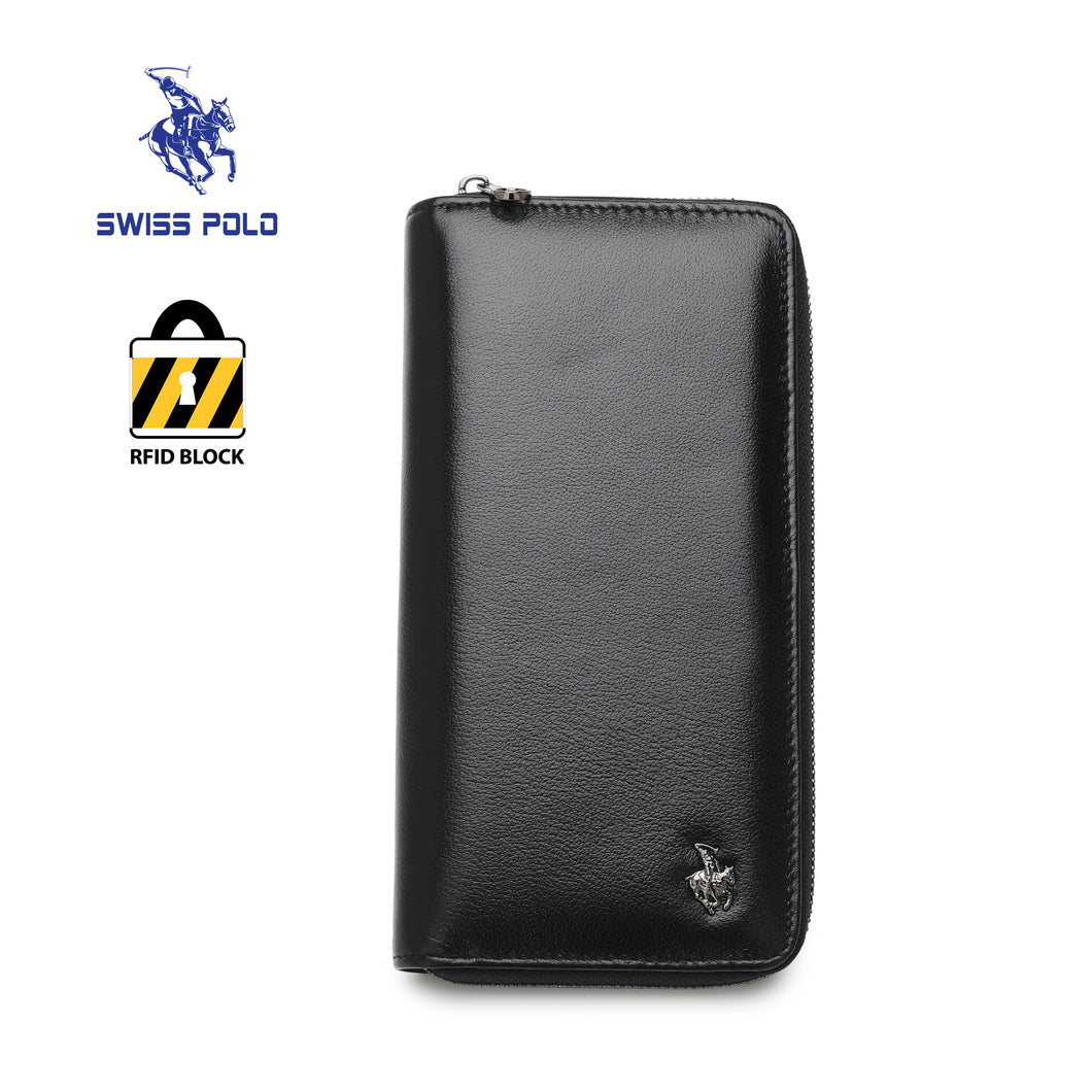 SWISS POLO GENUINE LEATHER RFID ZIPPER LONG WALLET SW 167-2 BLACK