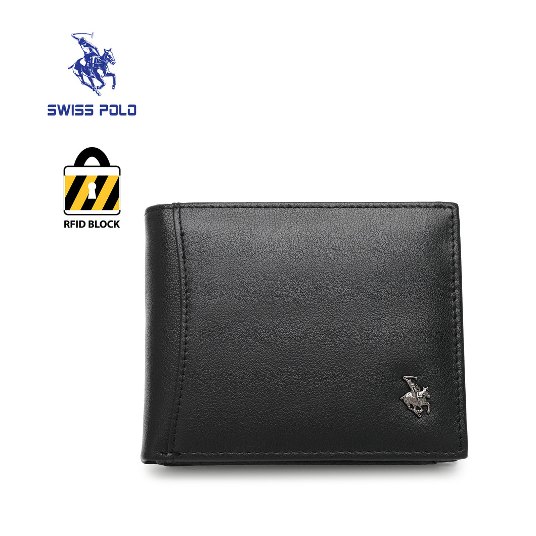 SWISS POLO GENUINE LEATHER RFID SHORT WALLET SW 167-6 BLACK