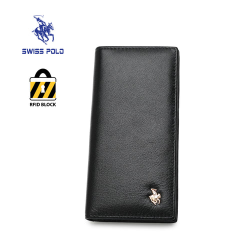 SWISS POLO GENUINE LEATHER RFID LONG WALLET SW 168-1 BLACK