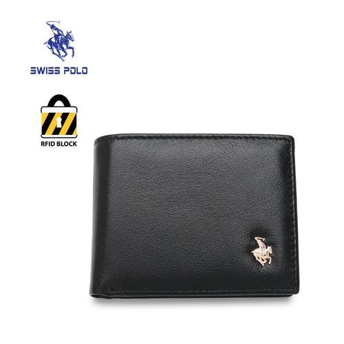 SWISS POLO GENUINE LEATHER RFID SHORT WALLET SW 168-3 BLACK