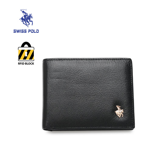SWISS POLO GENUINE LEATHER RFID SHORT WALLET SW 168-4 BLACK