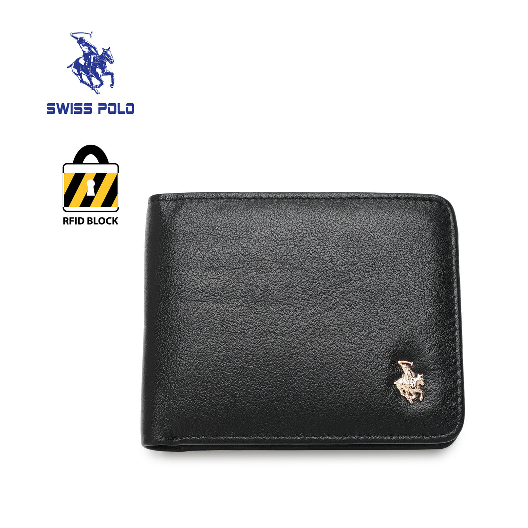 SWISS POLO GENUINE LEATHER RFID SHORT WALLET SW 168-5 BLACK