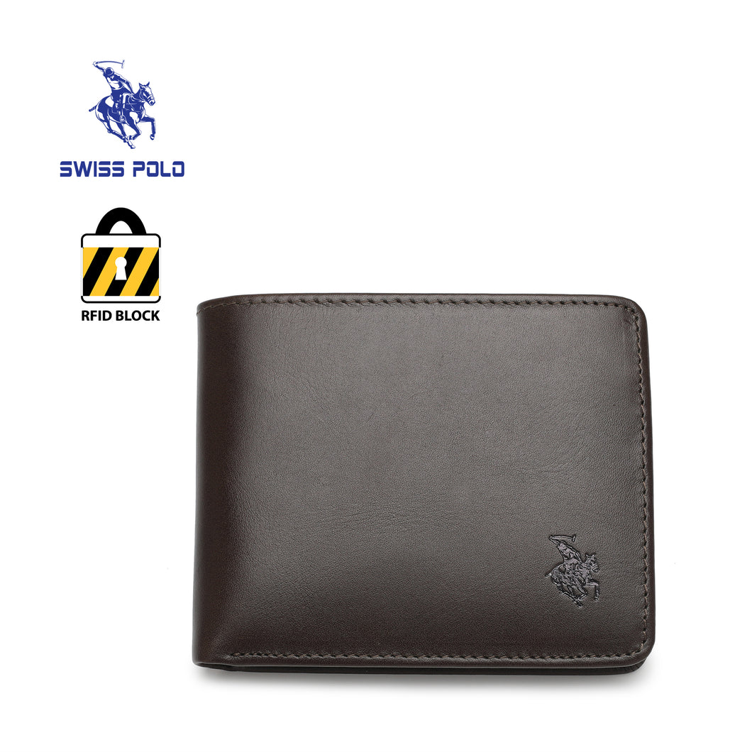 SWISS POLO GENUINE LEATHER RFID SHORT WALLET SW 169-5 BROWN