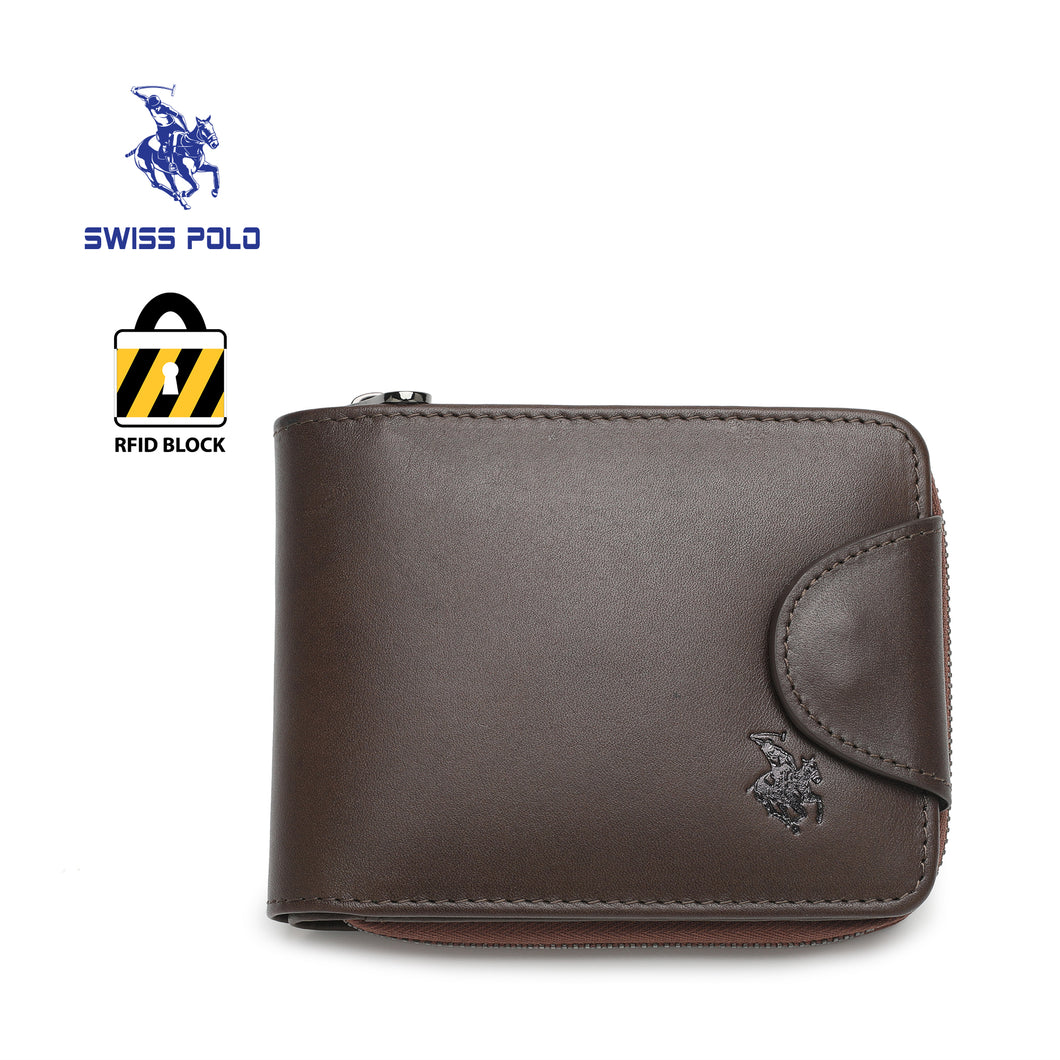 SWISS POLO GENUINE LEATHER RFID ZIPPER SHORT WALLET SW 169-7 BROWN
