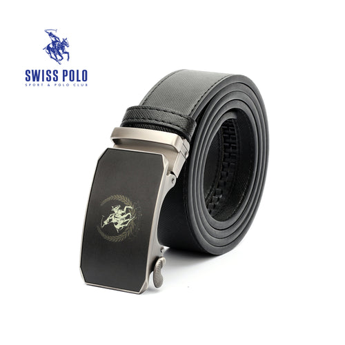 SWISS POLO 40MM LEATHER AUTOMATIC BELT WAB 449-3 BLACK