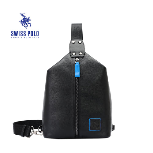 SWISS POLO GENUINE LEATHER CHEST BAG SXL 9206 BLACK