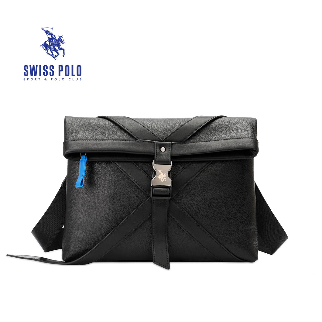 SWISS POLO GENUINE LEATHER SLING BAG SXL 9211 BLACK