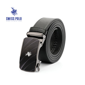 SWISS POLO 40MM LEATHER AUTOMATIC BELT WAB 449-1 BLACK