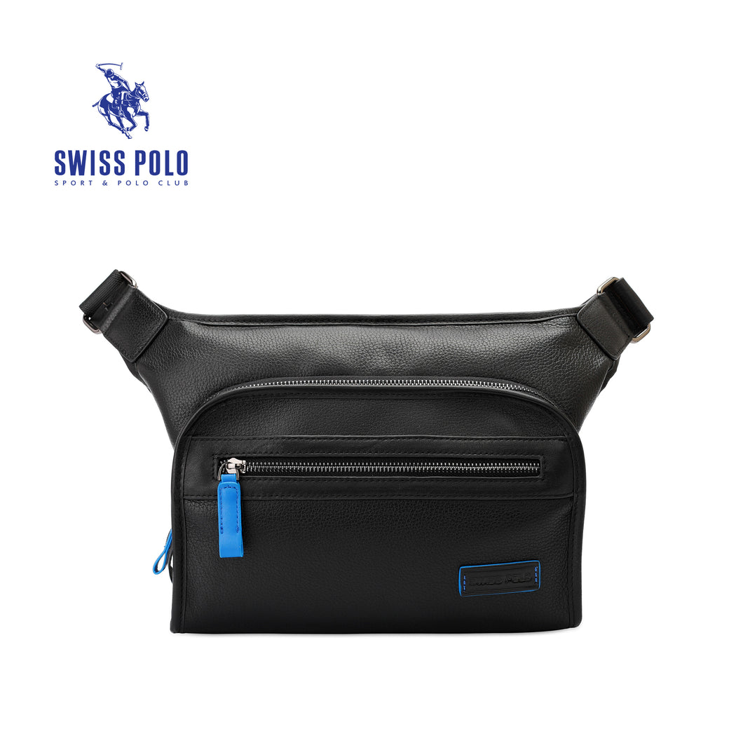 SWISS POLO GENUINE LEATHER CROSSBODY BAG SXL 9210 BLACK