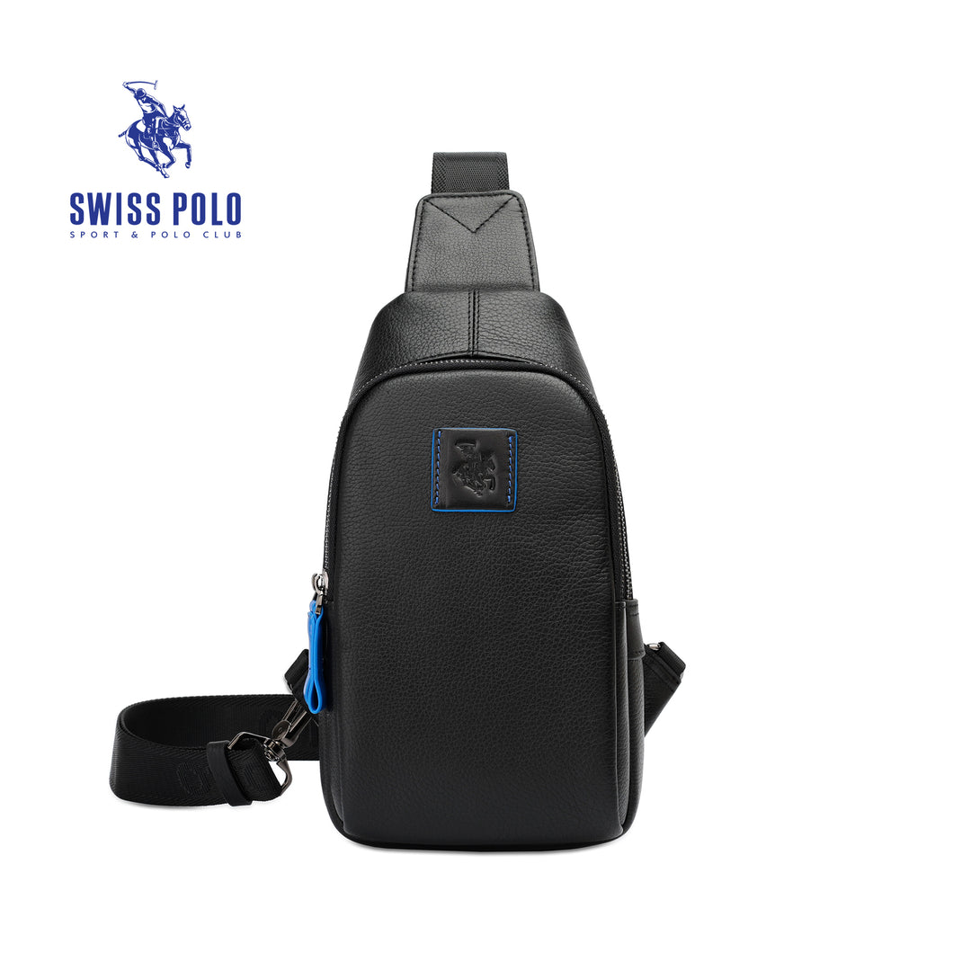 SWISS POLO GENUINE LEATHER CHEST BAG SXL 2900 BLACK