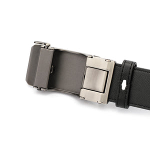 SWISS POLO 40MM LEATHER AUTOMATIC BELT WAB 449-2 BLACK