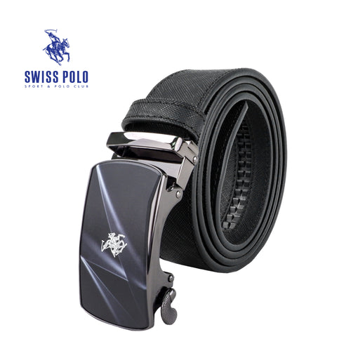 SWISS POLO 40MM LEATHER AUTOMATIC BELT WAB 450-1 BLACK