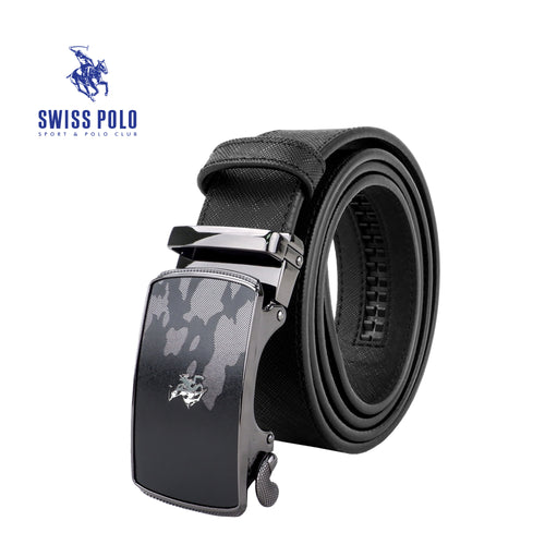 SWISS POLO 40MM LEATHER AUTOMATIC BELT WAB 450-2 BLACK