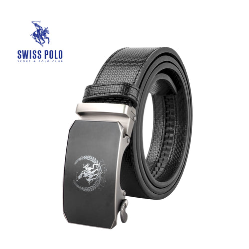 SWISS POLO 40MM LEATHER AUTOMATIC BELT WAB 451-1 BLACK