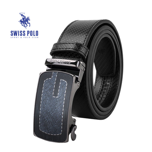 SWISS POLO 40MM LEATHER AUTOMATIC BELT WAB 451-3 BLACK