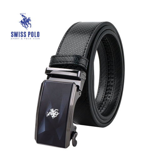 SWISS POLO 40MM LEATHER AUTOMATIC BELT WAB 451-2 BLACK