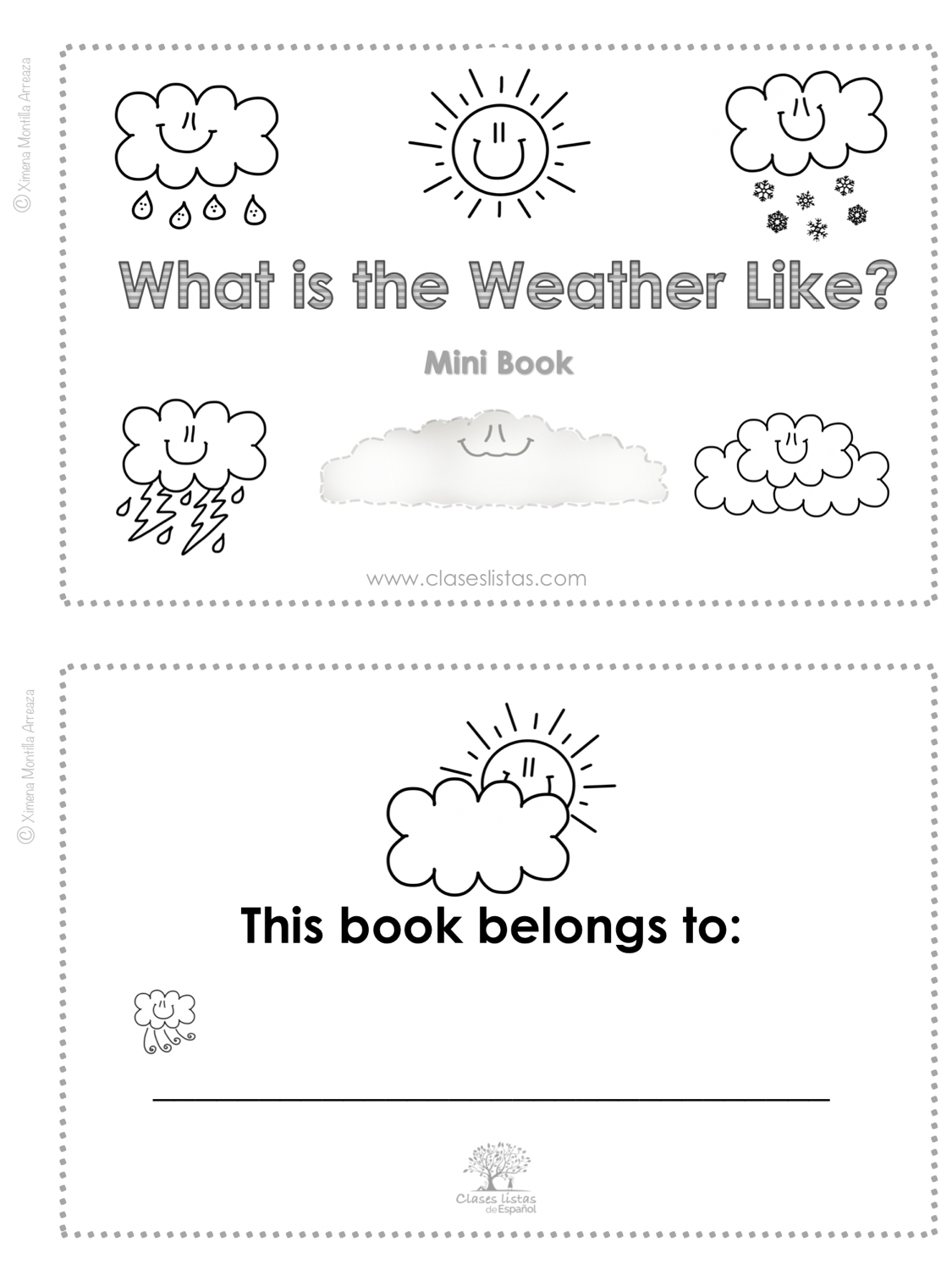 The Weather, What is the Weather Like?  Minibook. (English version)