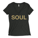 Women's V-Neck T-Shirt - Black & Gold