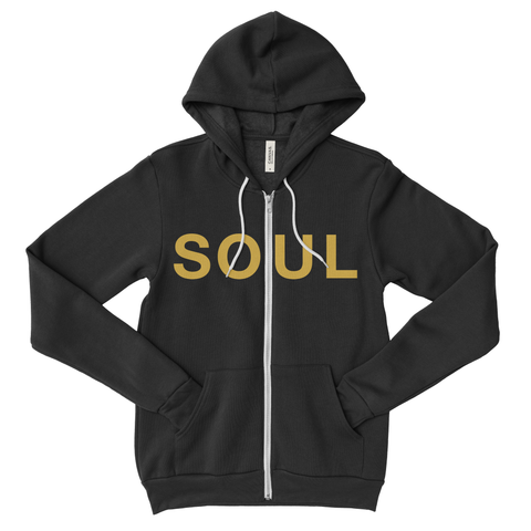 Zippered Hoodie - Black & Gold