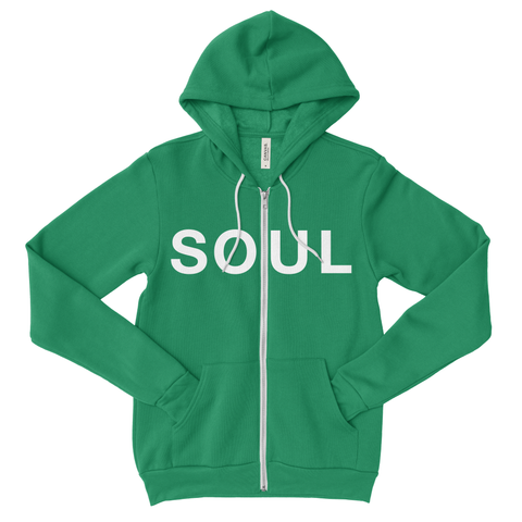 Zippered Hoodie - Kelly Green & White