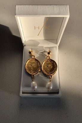 Holly Ryan Gold Plated Picasso & Pearl Drop Earrings