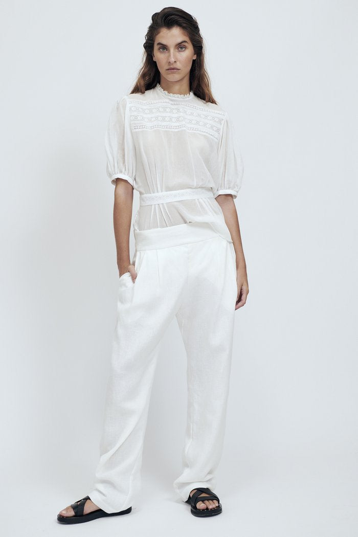 Matin Pleat Front Pant with Tie - Ivory