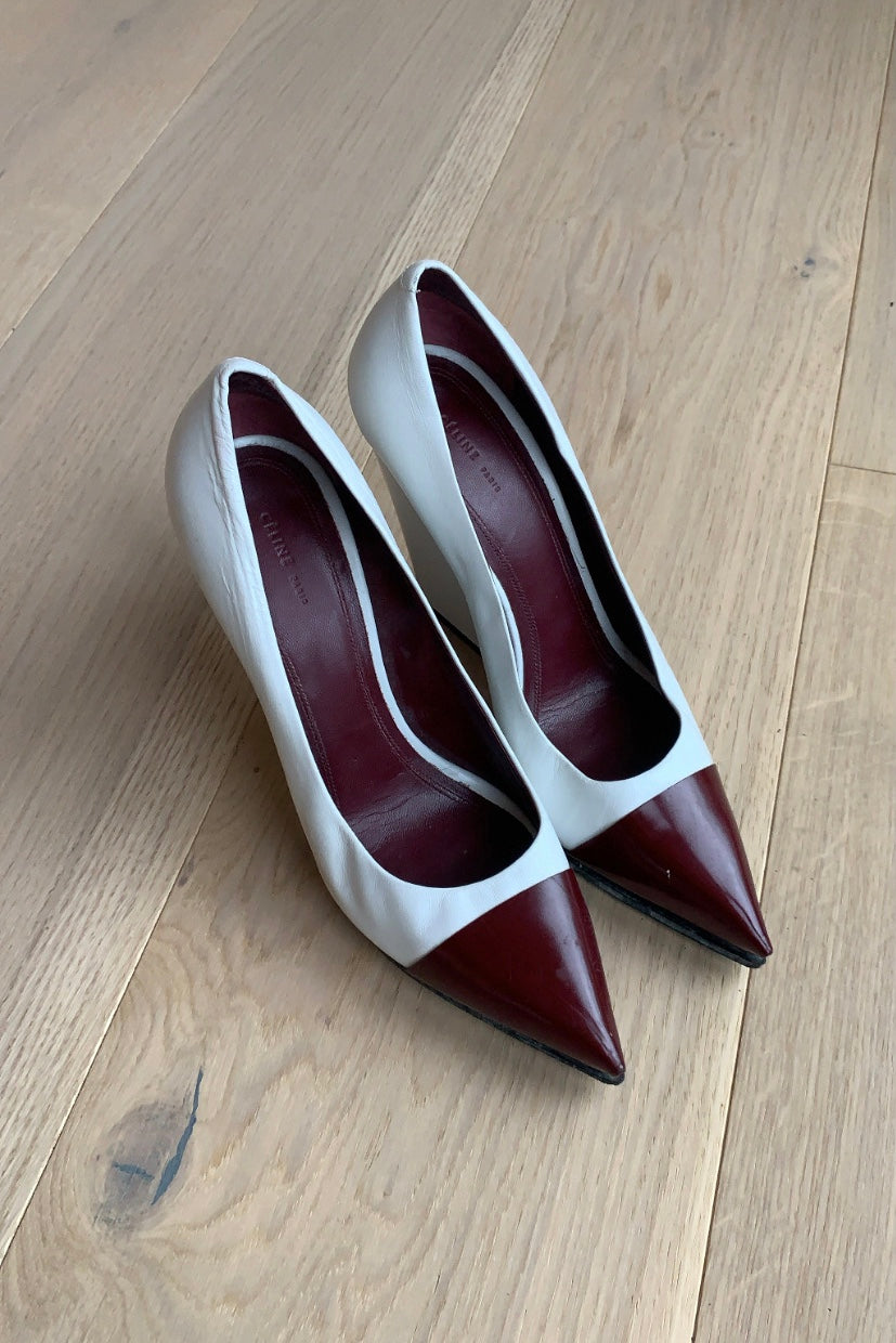 Celine White/Burgundy Leather Pointed Toe Wedge Pumps
