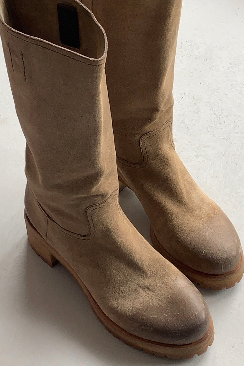 Prada Calf High Suede Boots