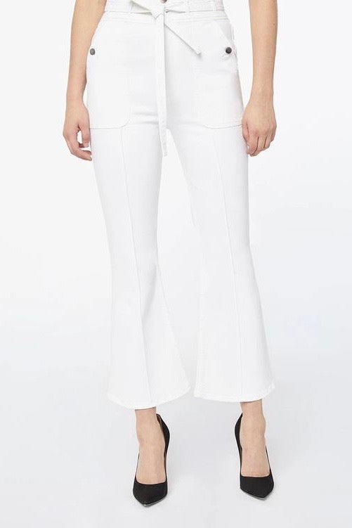 Frame - Le Crop Flare Triple Waistband Jeans, White - Worn For Good
