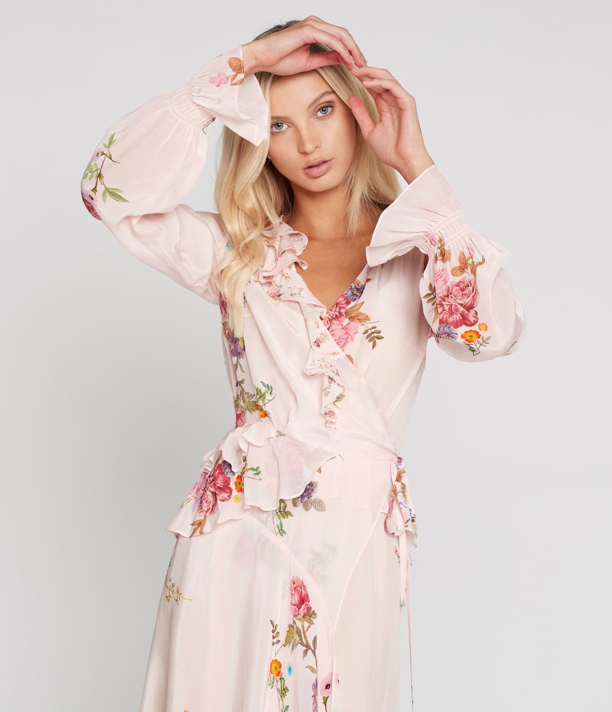 Preen Line Eden Wrap Dress In Haunted Floral Pink