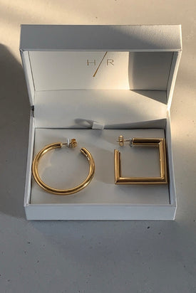 Holly Ryan - Circle Square Earrings, Gold - Worn For Good