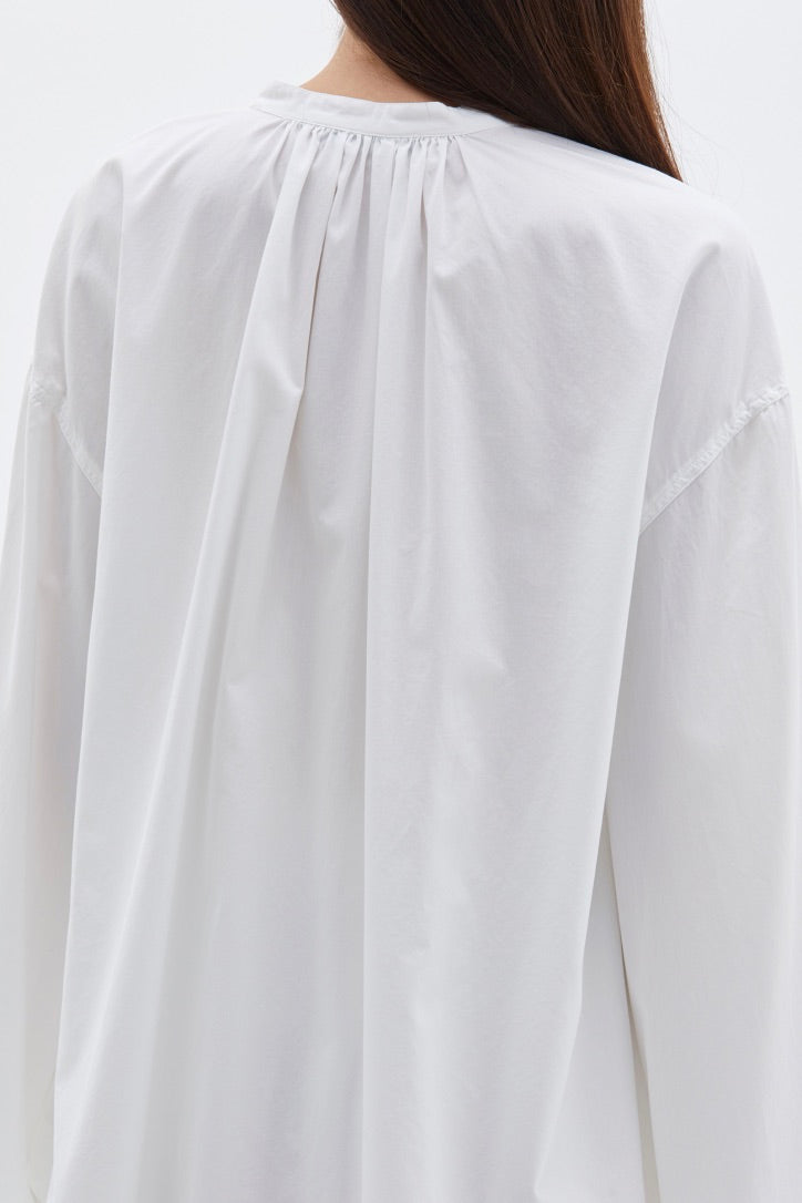 Bassike - Cotton Gathered Cape Shirt, White