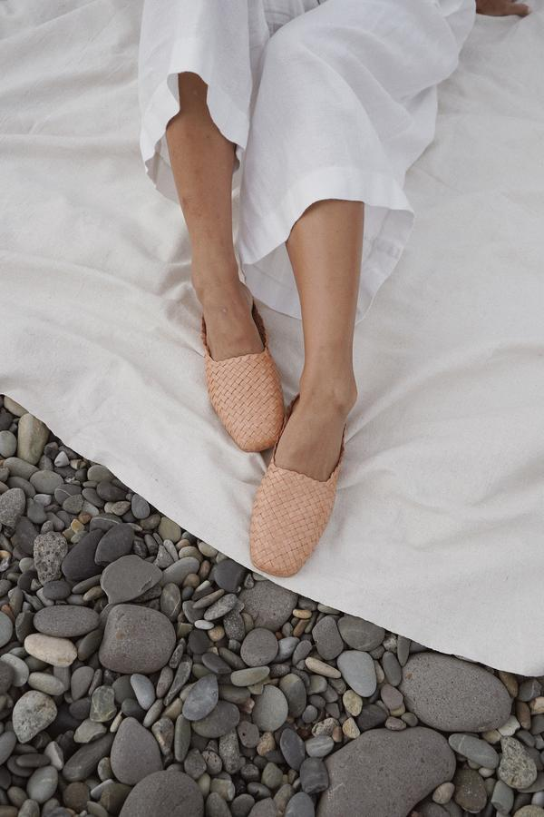 St Agni - Agnese Woven Flat, Tan - Worn For Good