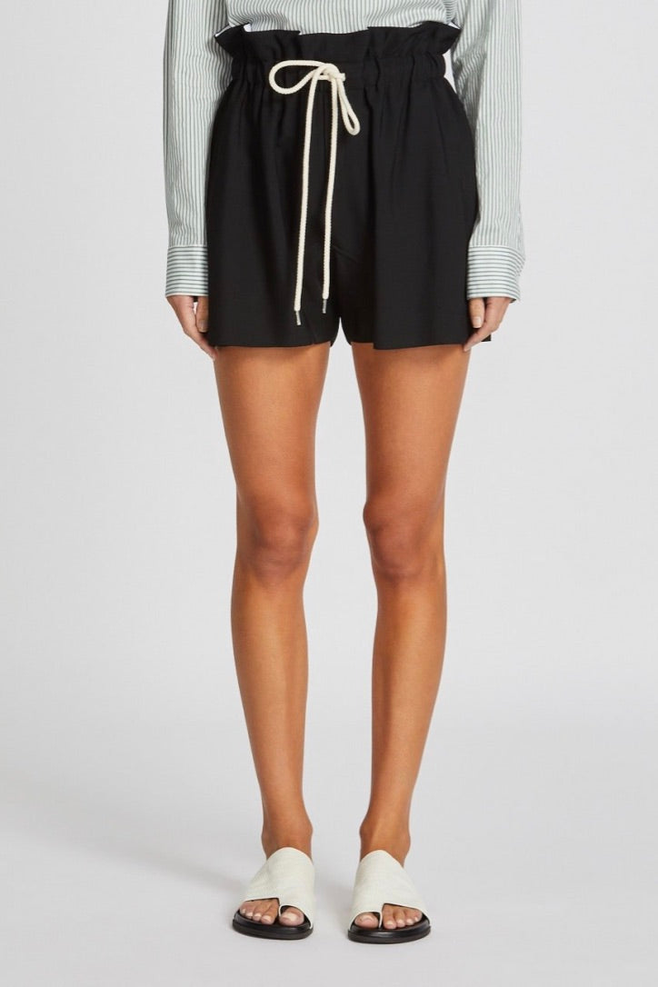 Bassike - Paper Bag Relaxed Short, Black