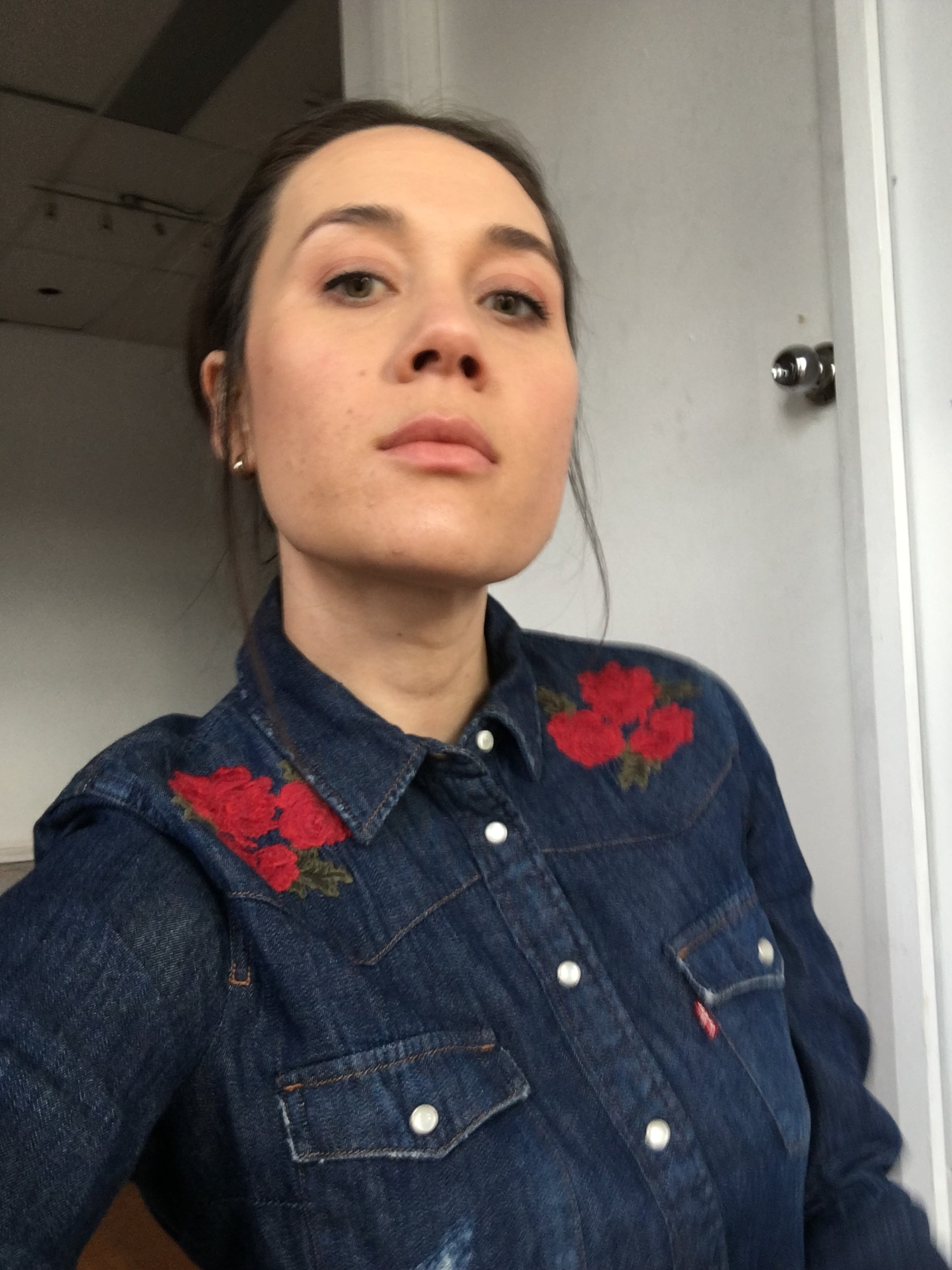 Haiku Hands: Levi's blue denim shirt with red flowers