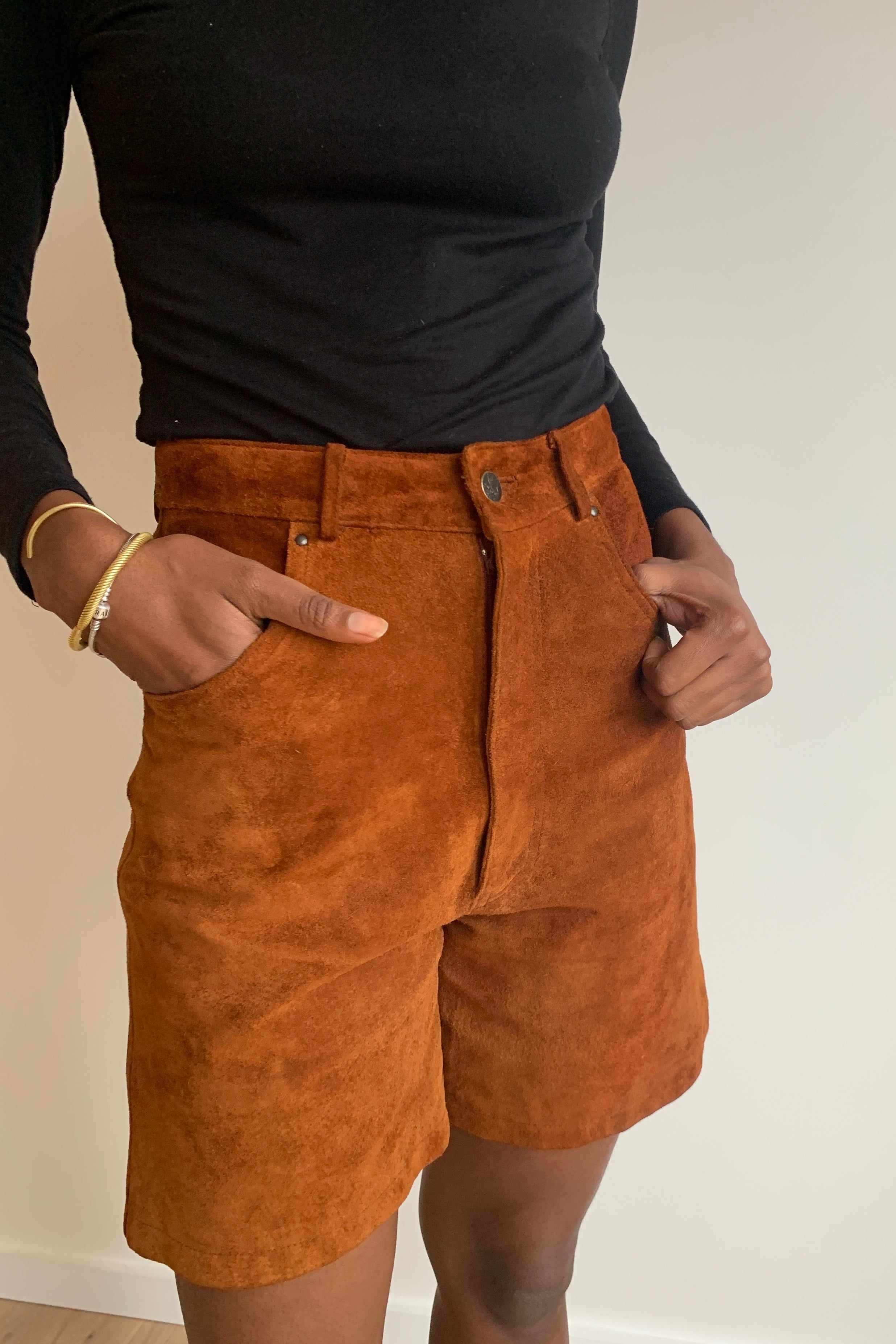 Vintage Suede Tailored Shorts