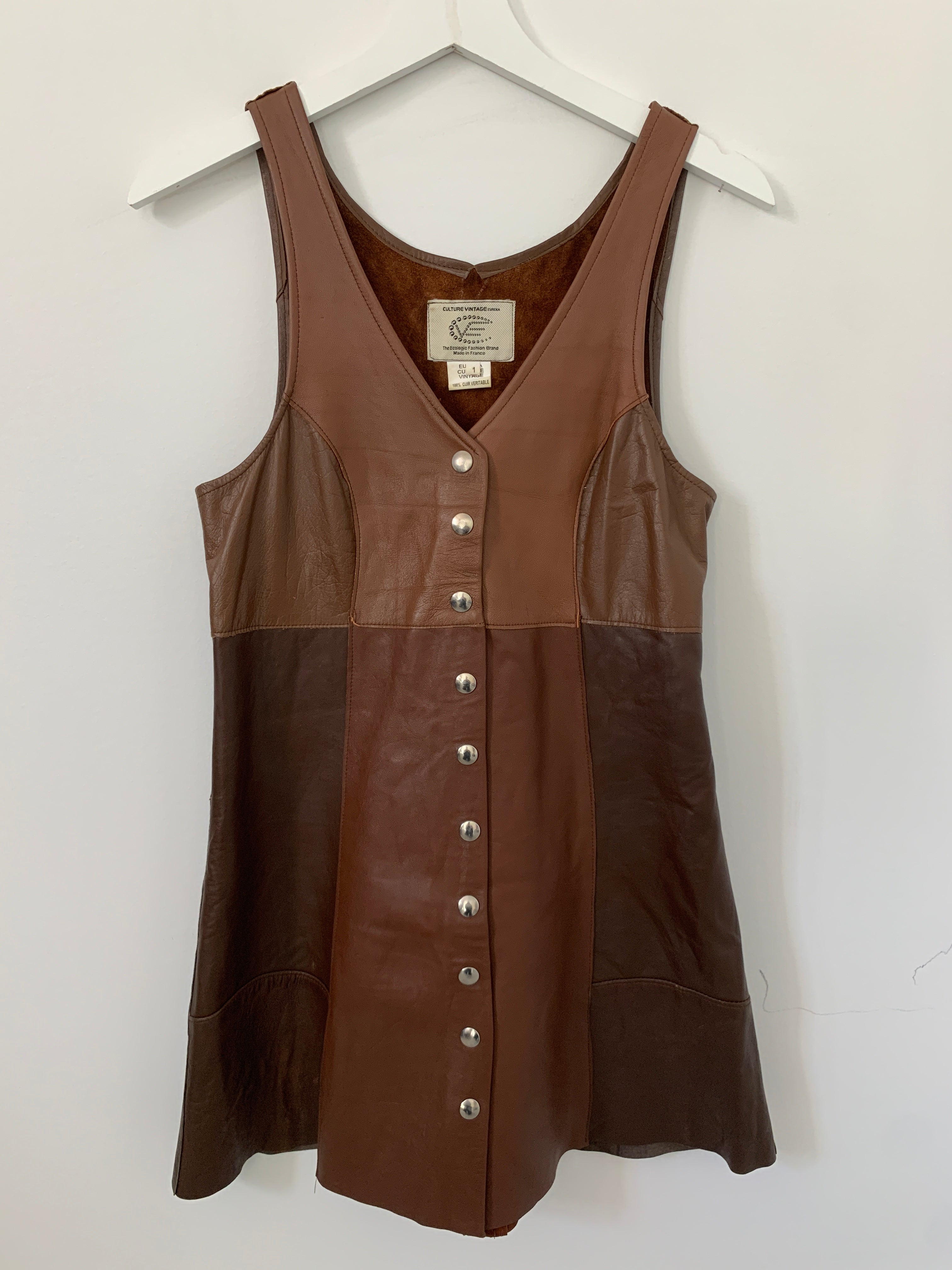 izzi (The Preatures): Vintage leather button up Jackaroo dress