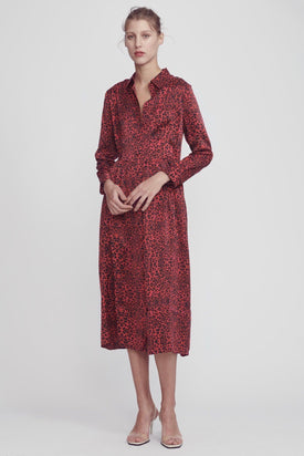 Silk Laundry - Long Button Front Shirt Dress, Red Leopard - Worn For Good