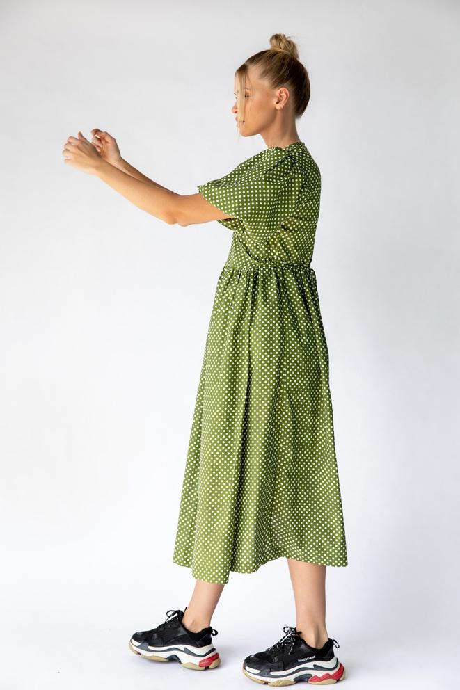 Nice Martin Kayo Wrap Dress in Green Polka Dot