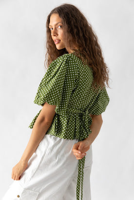 Nice Martin - Kayo Wrap Top, Green Polka Dot