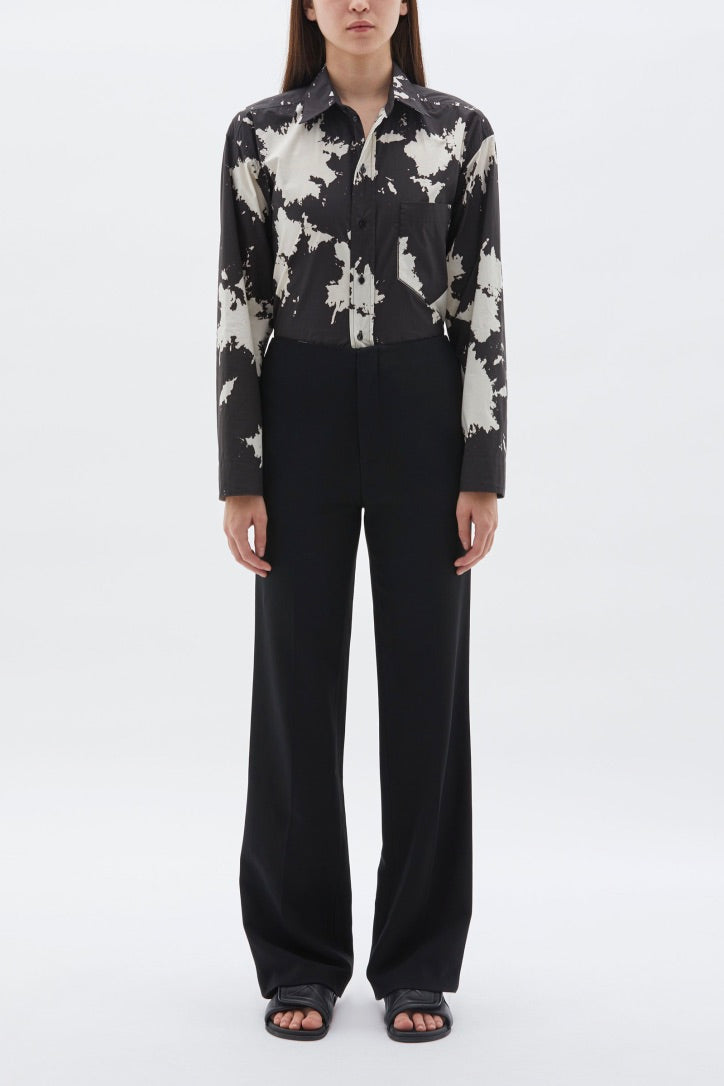 Bassike - Printed Cropped Cotton Shirt, Black
