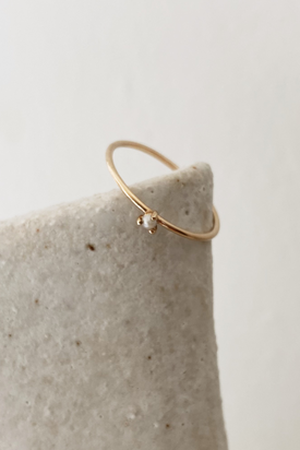 Natalie Marie Tiny Pearl Ring - 9ct Yellow Gold