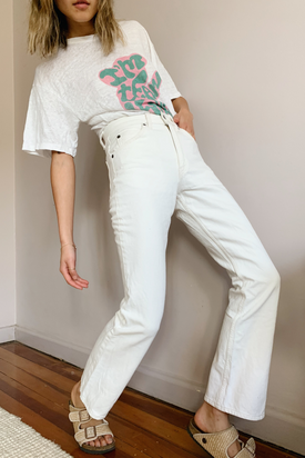 Levi's white denim jeans
