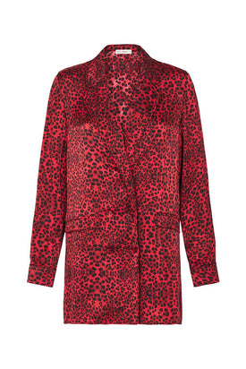 Silk Laundry - Relaxed Blazer, Red Leopard - Worn For Good