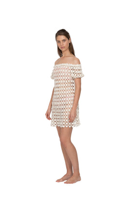 She Made Me - Maalai Off-The-Shoulder Dress, White - Worn For Good