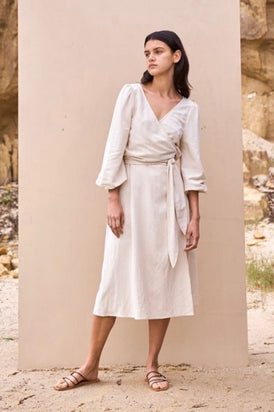 St Agni - Delphine Wrap Dress, Ivory
